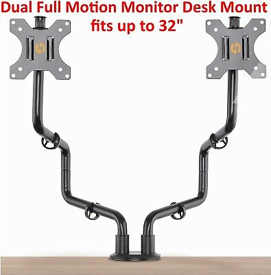 Dual Full Motion VESA Monitor Desk Mount Heavy Duty Double Arm Fits up to 32