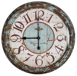 Large Rusty Turquoise Round Metal Wall Clock Home Decor Vintage Retro Finish