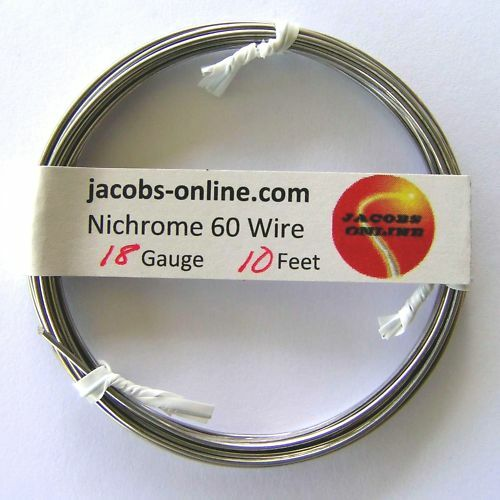 Nichrome 60 resistance wire, 18 AWG (gauge), 10 feet