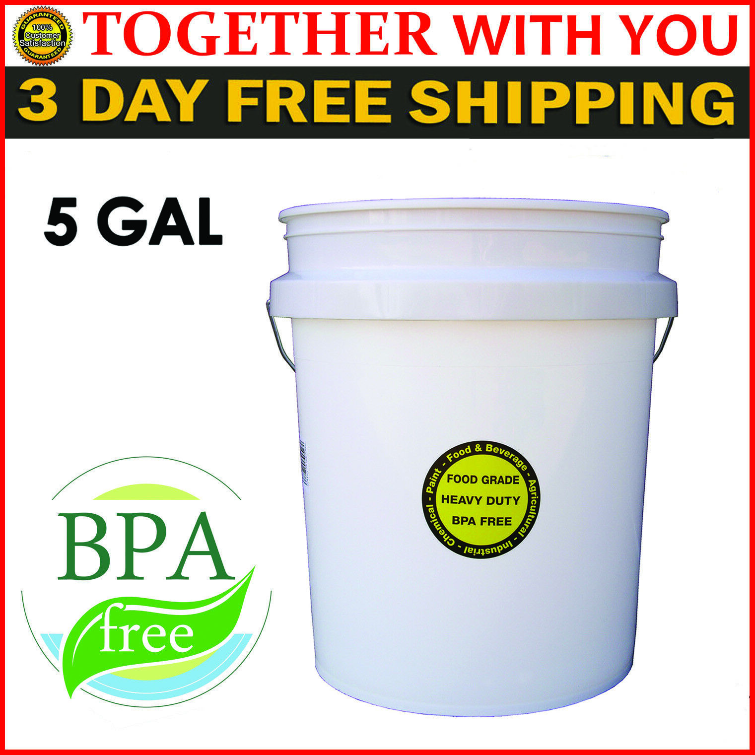 5 Gallon Plastic Bucket Commercial Food Grade Paint Storage