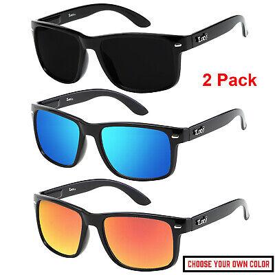 2 Pack Mens Locs Sunglasses Sports Gangster Biker Dark Shades Mirror Super (Super Sunglasses For Men)