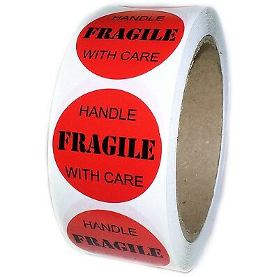 Red Fragile Handle With Care Labels Stickers - 1.5 Diameter - 500 Ct - Sl019