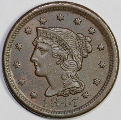 1847 1c Braided Hair N-37 Large Cent UNSLABBED