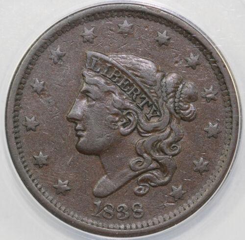 1838 1c N-5 Coronet or Matron Head Large Cent ANACS VF 35