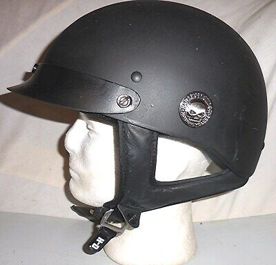 Genuine Harley Davidson Willie G Skull Medallion Flat Black DOT Half Helmet Med