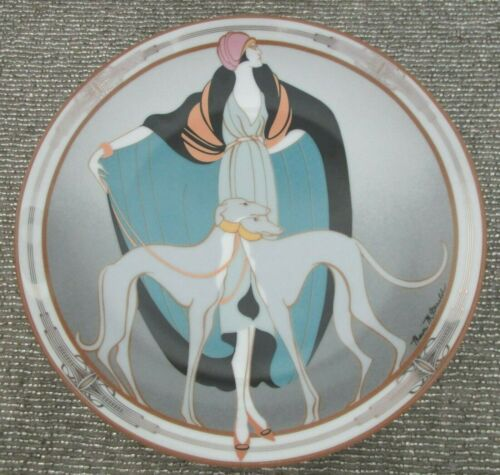 A Flapper With Greyhounds Art Deco 1990 W S George Plate Signed Marci McDonald