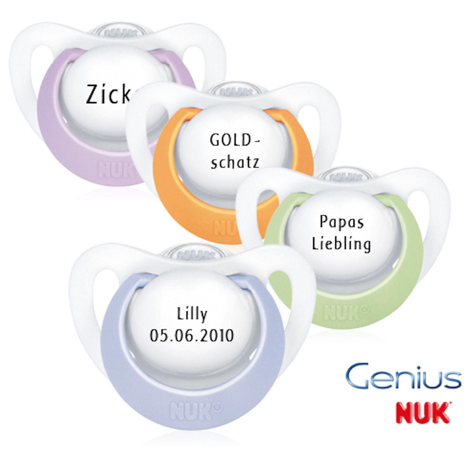 Nuk Genius Namensschnuller - Schnuller mit Namen - 2 Stück - Silikon - Gr. 2
