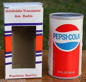 VINTAGE NEW OLD STOCK PEPSI COLA SODA CAN PORTABLE AM TRANSISTOR RADIO IN BOX