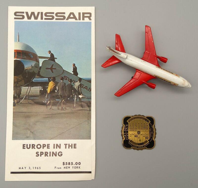 SwissAir Switzerland Airline 1965 Brochure, 1973 Matchbox Plane, 1978 Calendar