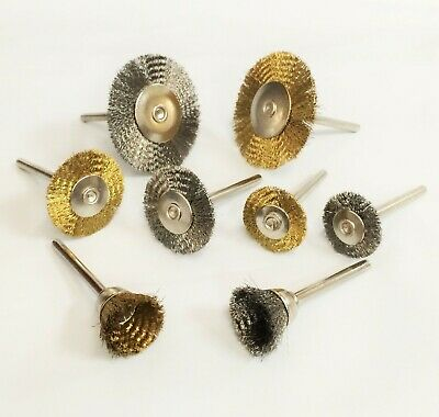 Mini Steel Brass Wire Brush Wheel Polishing Wheels Set For Rotary Tools 24-pc