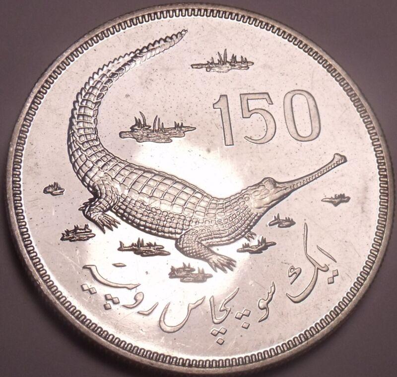 Massive Rare Silver Proof Pakistan 1976 150 Rupees~Gavial Crocodile~Free Ship~