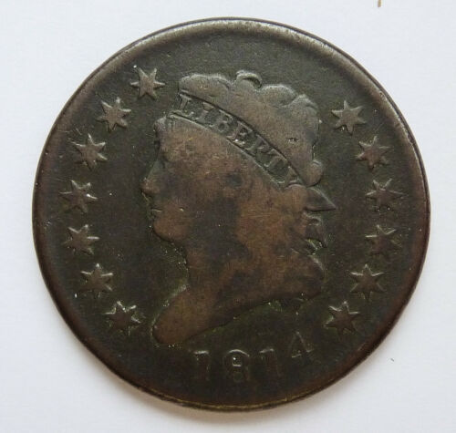 1814 U.S. CLASSIC HEAD LARGE CENT ~ PLAIN 4 VARIETY ~ VERY GOOD CONDITION