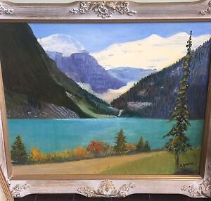 Oil Painting of LAKE LOUISE - Signed, G. SMITH