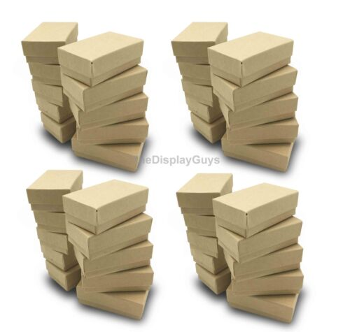 """US Seller~100 pcs 2 5/8""""x1 1/2""""x1"""" Kraft Cotton Filled Jewelry Gift Boxes"""