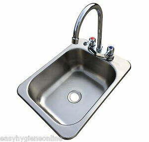 Counter Top Sunk Inset Stainless Steel HAND WASH BASIN Sink Waste, Plug & Tap