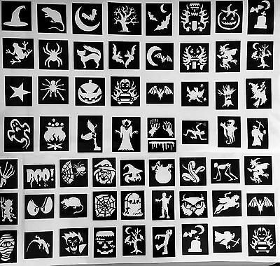 100 X stencils Halloween Mix  top up your glitter tattoo kit face painting