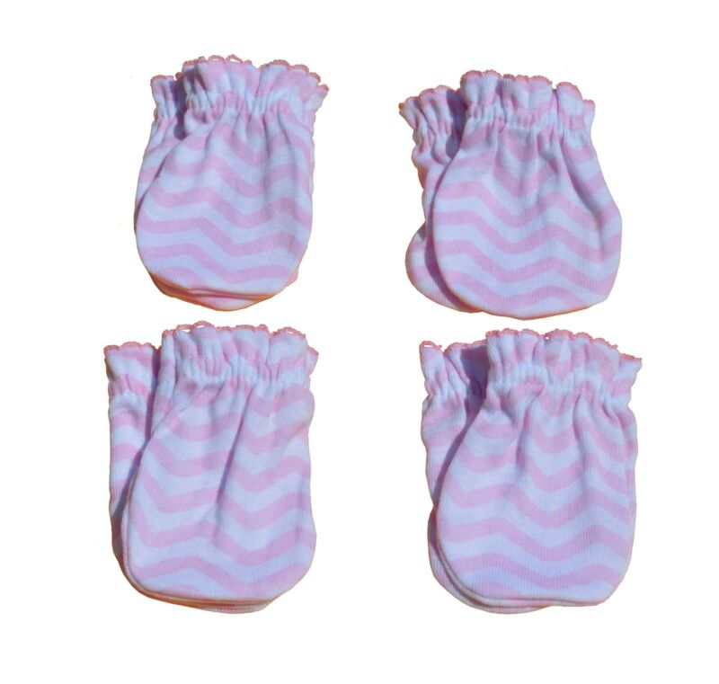 4 Pairs Cotton Newborn Baby/infant Anti-scratch Mittens Gloves - Pink Wave