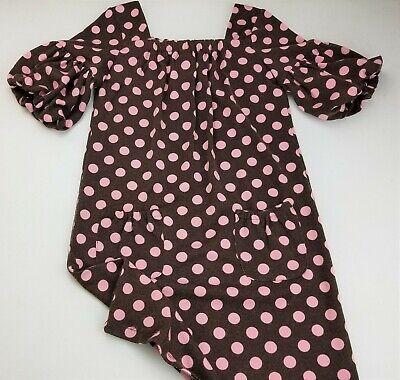 Brown Girls Dress (Girls HYPE brown pink polka dot lightweight sweater dress 12 puff sleeve)