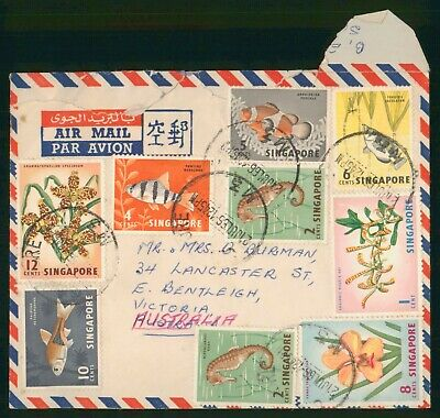 Mayfairstamps Singapore 1966 Fish & Flowers Combo Airmail to Australia Cover wwo