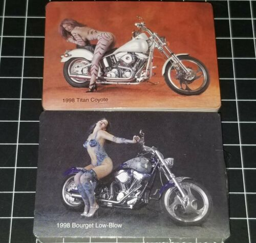 TITAN COYOTE BOURGET LOW BLOW KUSTOM MOTORCYCLE PLAYING CARDS PINUP PHOTO HARLEY