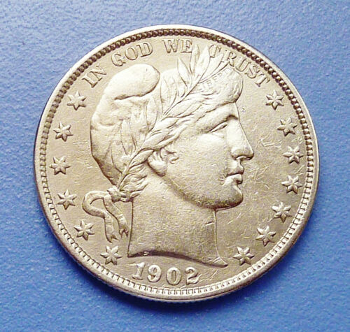 1902-P U.S. BARBER SILVER HALF DOLLAR ~ EXTRA FINE CONDITION - CLEANED