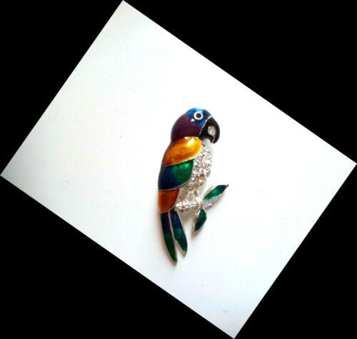 Vintage Silver Tone Rhinestone Multi Colored Enamel Parrot Bird Pin Brooch