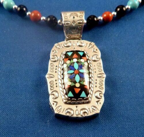 """Carolyn Pollack Relios Sterling Fine Inlay PENDANT SIGNED, 26"""" Beaded necklace"""