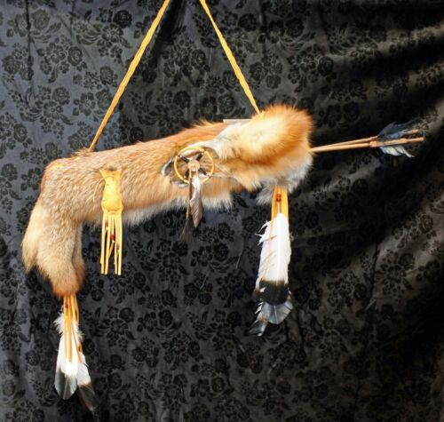 Native American Navajo Handmade Red Fox Quiver & 2 Arrows Medicine Wheel