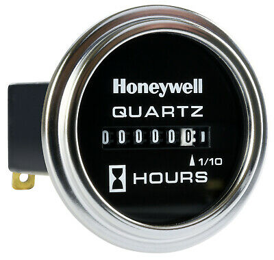 Honeywell 12-60 Volts Dc Chrome Bezel 85000 Series Hour Meter With Mounting Back
