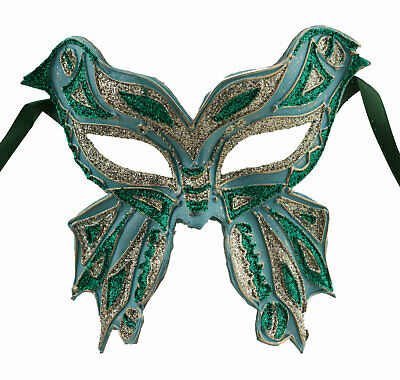 Mask from Venice Colombine Farfella Blue Green Mixed Butterfly Paper Mache 1779
