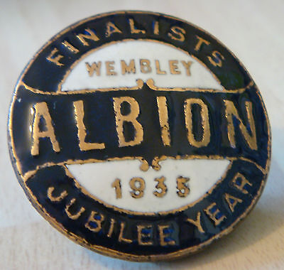 WEST BROMWICH ALBION FC Vintage WEMBLEY 1935 FA CUP FINALISTS Badge Button hole