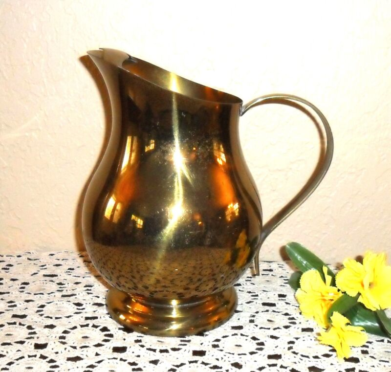 STUNNING UNIQUE LARGE BRASS WATER MILK PITCHER, SIGNED F.B. ROGERS-GREAT VASE!