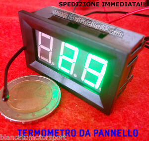 TERMOMETRO-DIGITALE-DA-PANNELLO-LED-VERDE-30-70-DC-auto-moto-car-audio-hifi