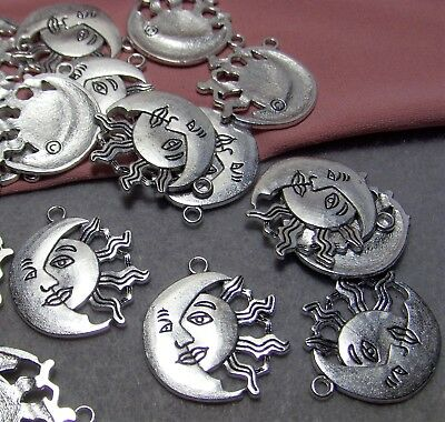 SILVER CELESTIAL PENDANTS LOT-CRESCENT MOON-SUN-30 PCS-FINDINGS-JEWELRY MAKING