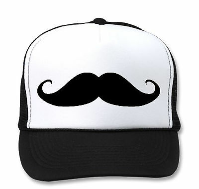 MUSTACHE TRUCKER HAT Moustache Mesh Cap Funny Snapback Hipster YOLO girls men  ](Trucker Mustache)