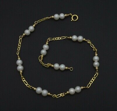 New Exquisite 14K Solid Gold 4mm Natural Pearl Beaded Anklet bracelet 9- 10''