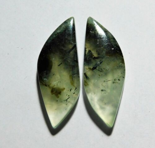 29.85 Cts Natural Prynite (33mm X 12mm each) Cabochon Match Pair