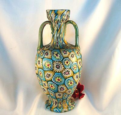 Rarität alte Murano Vase Millefiori 20,6 cm Murrine Vase Fratelli Toso / bd 400