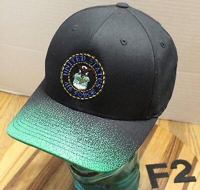 UNITED STATES AIR FORCE USAF HAT BLACK/GREEN SIZE L/XL VERY GOOD CONDITION F2
