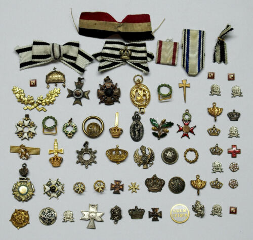 Collection of 56 German Gilt Crowns & Order Miniatures + 6 Ribbons c.1900
