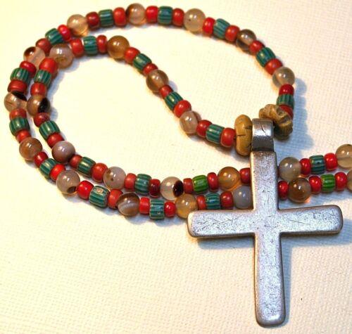 Antique Ethiopian Christian Cross Pendant Agate, Antique Venetian Beads Necklace