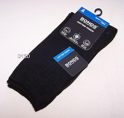 2x Bonds Mens Black Cotton Touch Rib Stretch Socks 2 Pack Size 11 - 14 New ()