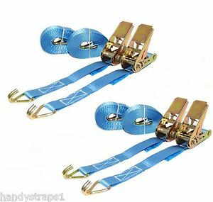 4-x-Blue-5m-x-25mm-RATCHET-TIE-DOWN-STRAP-800kg-VAN-Lashing-FREE-POSTAGE