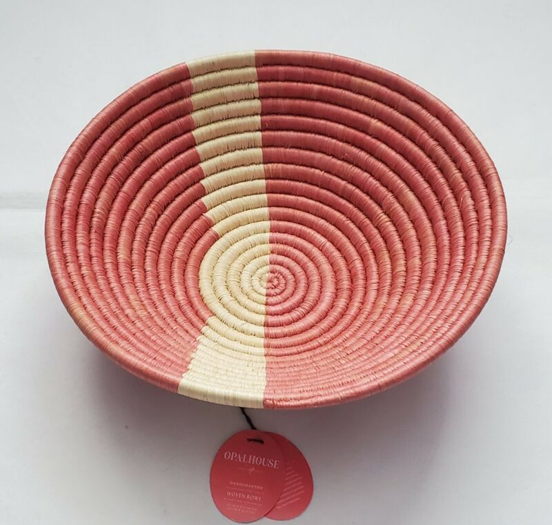 """Opalhouse Handcrafted Woven Raffia Bowl Pink 4 1/2"""" H x 12"""" Diameter, New!"""