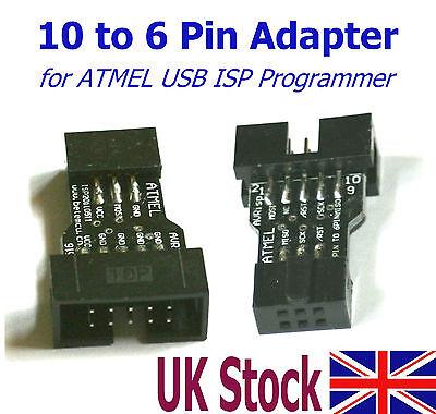 10 Pin to 6 Pin Adapter for ATMEL USB ISP AVR Programmer  USBasp - UK Stock