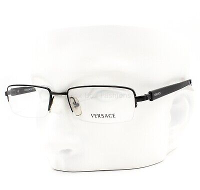 Versace 1118 1009 Eyeglasses Glasses Black Semi Rimless 50-17-135 Small w/case