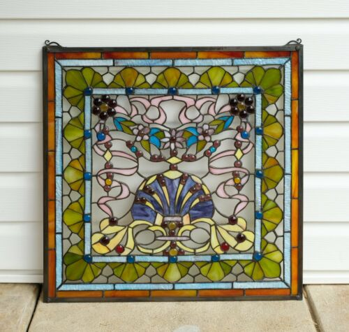 """24"""" x 24"""" Colorful Handcrafted stained glass Jeweled window panel ! 104G"""