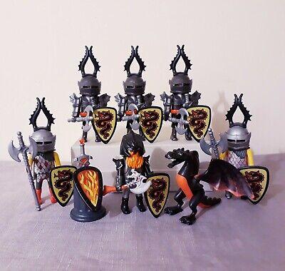 Playmobil dragon knights bundle, black dragon, castle figures, accessories