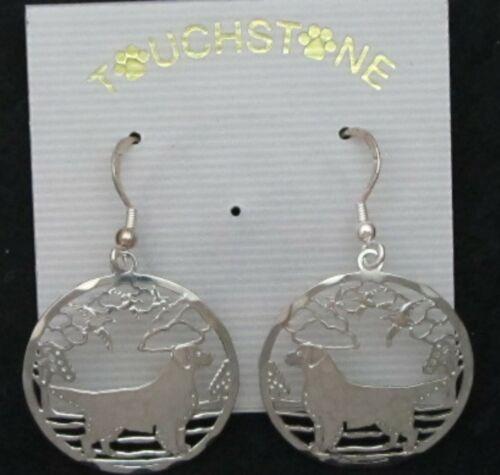 Golden Retriever Jewelry Silver Scene Earrings