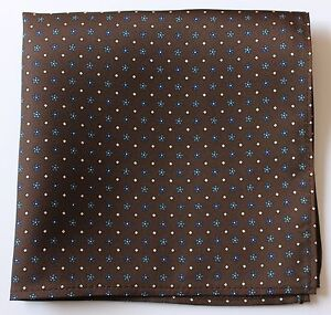 BROWN HAND PRINTED SILK POCKET SQUARE HANDKERCHIEF. HAND MADE NEW